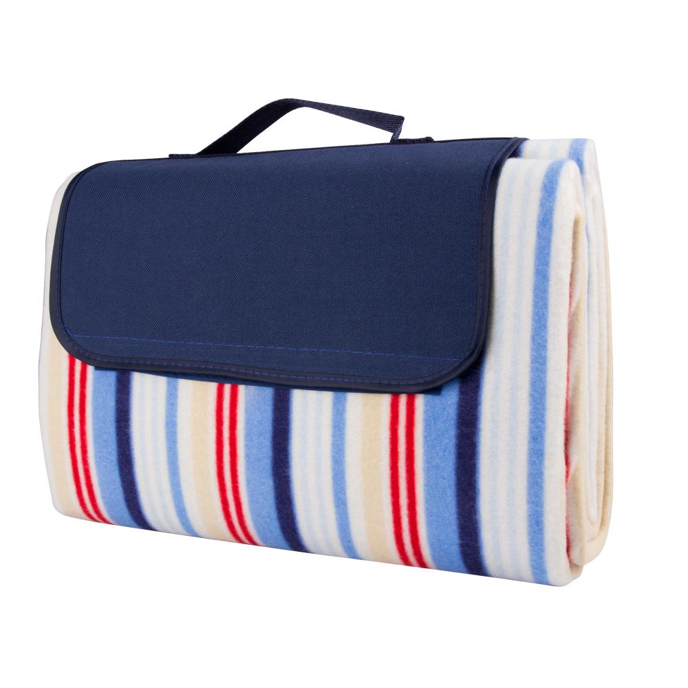 Pikniková deka inSPORTline 130x180 cm modrá s proužkem