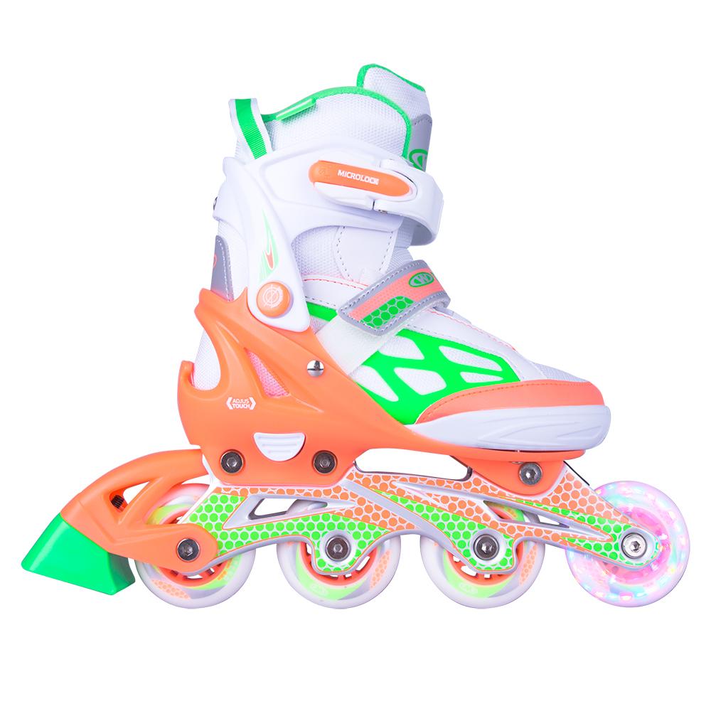 Nastavitelné kolečkové brusle WORKER Nubila LED se svítícími kolečky Oranžovo-zeleno-bílá - S (33-36)