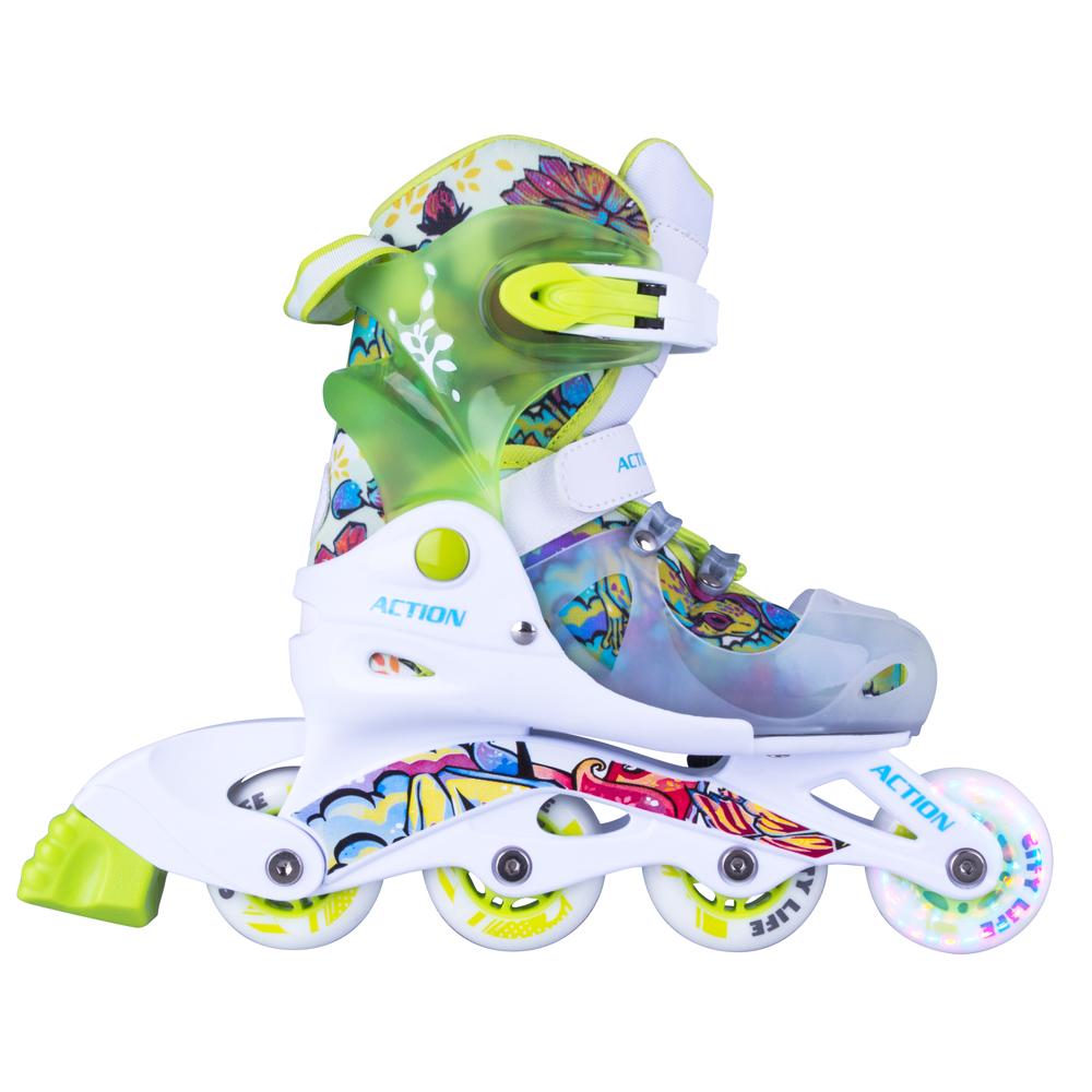 Dětské nastavitelné brusle Action Doly se svítícími kolečky zelená - XS (26-29)