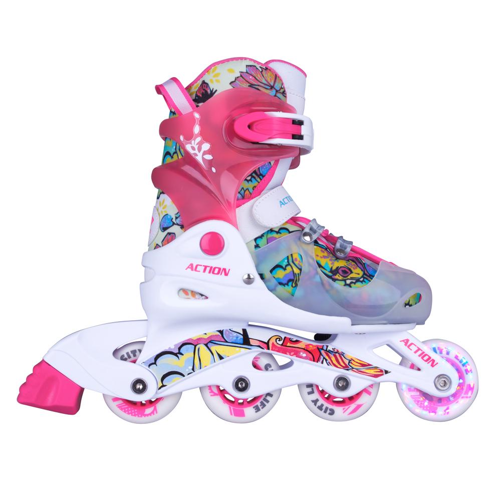 Dětské nastavitelné brusle Action Doly se svítícími kolečky růžová - XS (26-29)