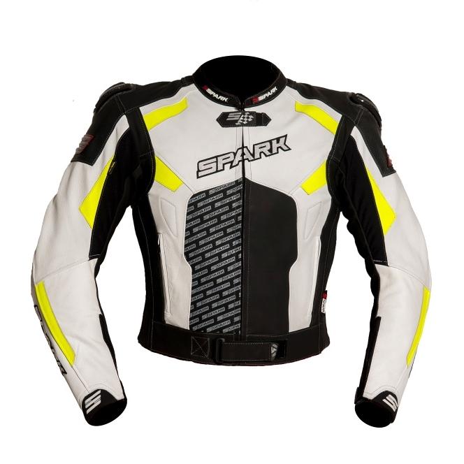 Pánská kožená moto bunda Spark ProComp černo-bílo-fluo - S