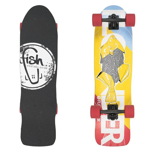 "Mini longboard Fish Old School Cruiser Flounder 31"" Black-Red"