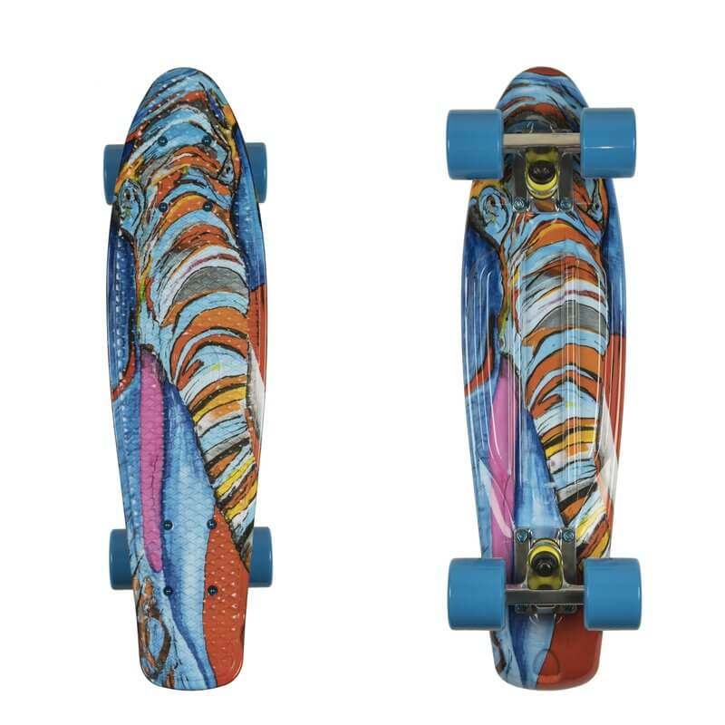 "Penny board ArtFish Elephant 22"" stříbrno-modrá"