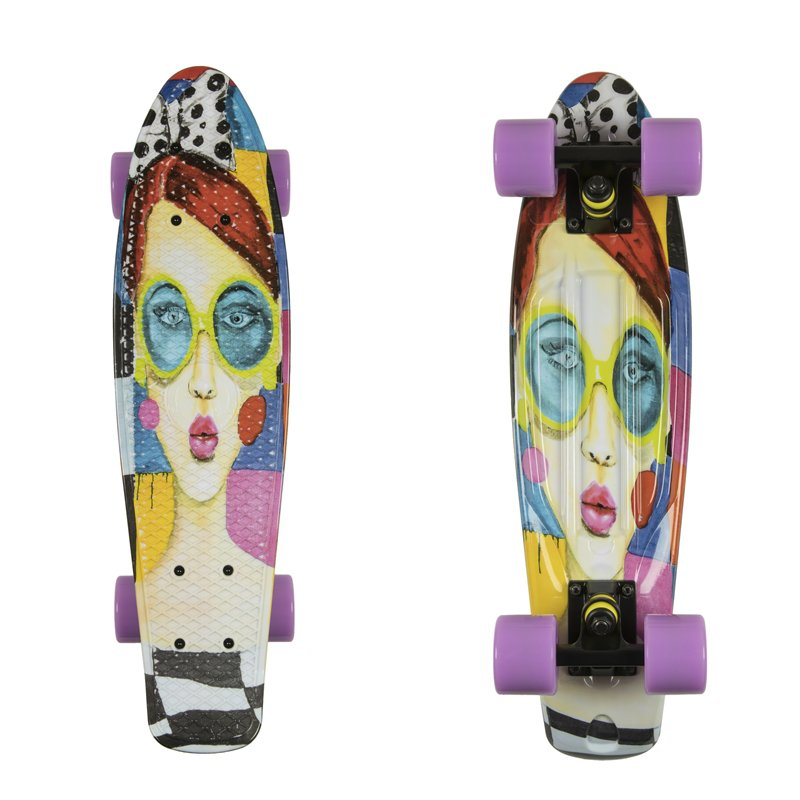 """Penny board ArtFish Face 22"""" černo-fialová"""