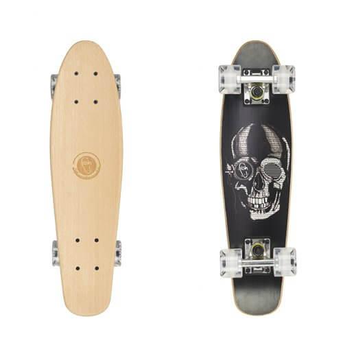 "Dřevený penny board Fish Classic Wood 22"" Black Skull-Silver-Transparent White"