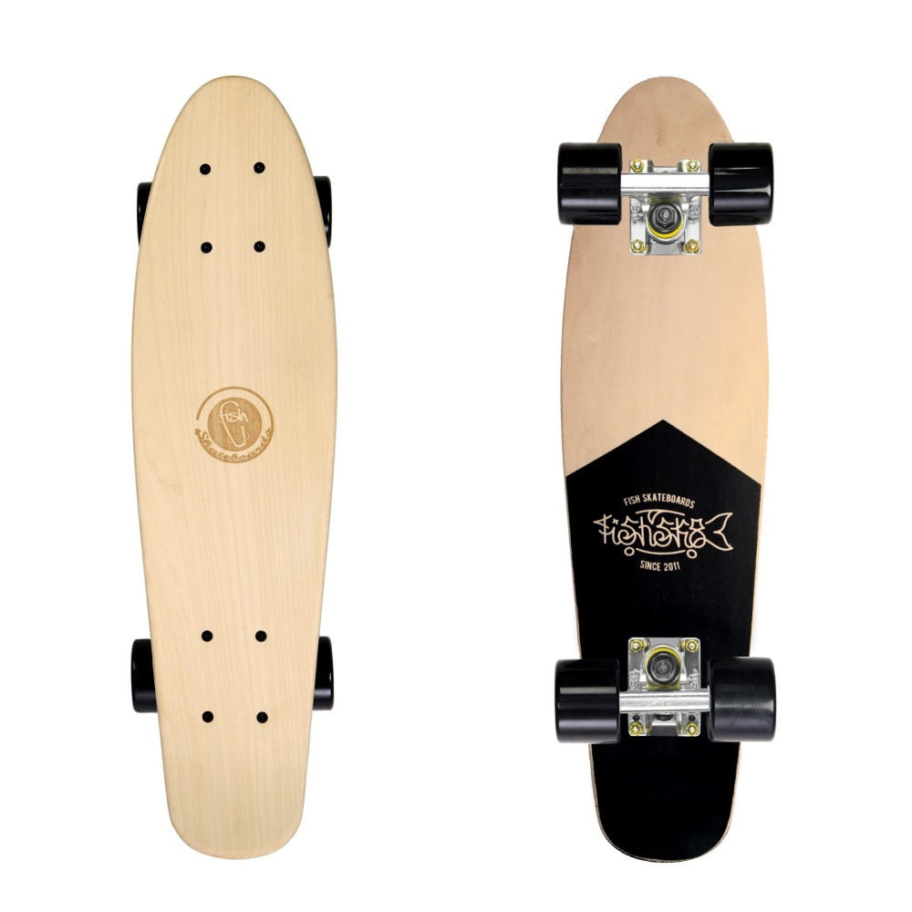 "Dřevený penny board Fish Classic Wood 22"" Coffin-Silver-Black"