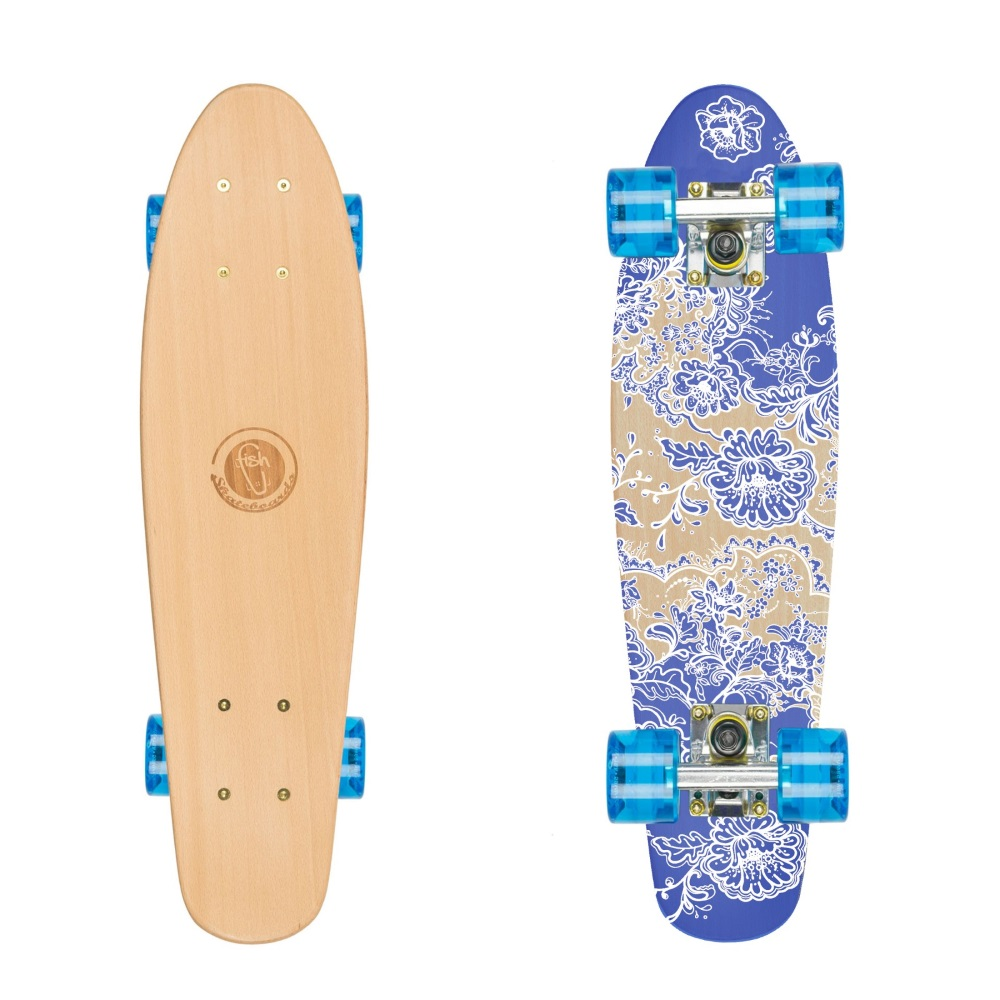 "Dřevený penny board Fish Classic Wood 22"" Flowers-Silver-Transparent Blue"