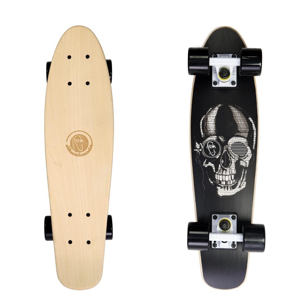 """Dřevený penny board Fish Classic Wood 22"""" Black Skull-White-Black"""