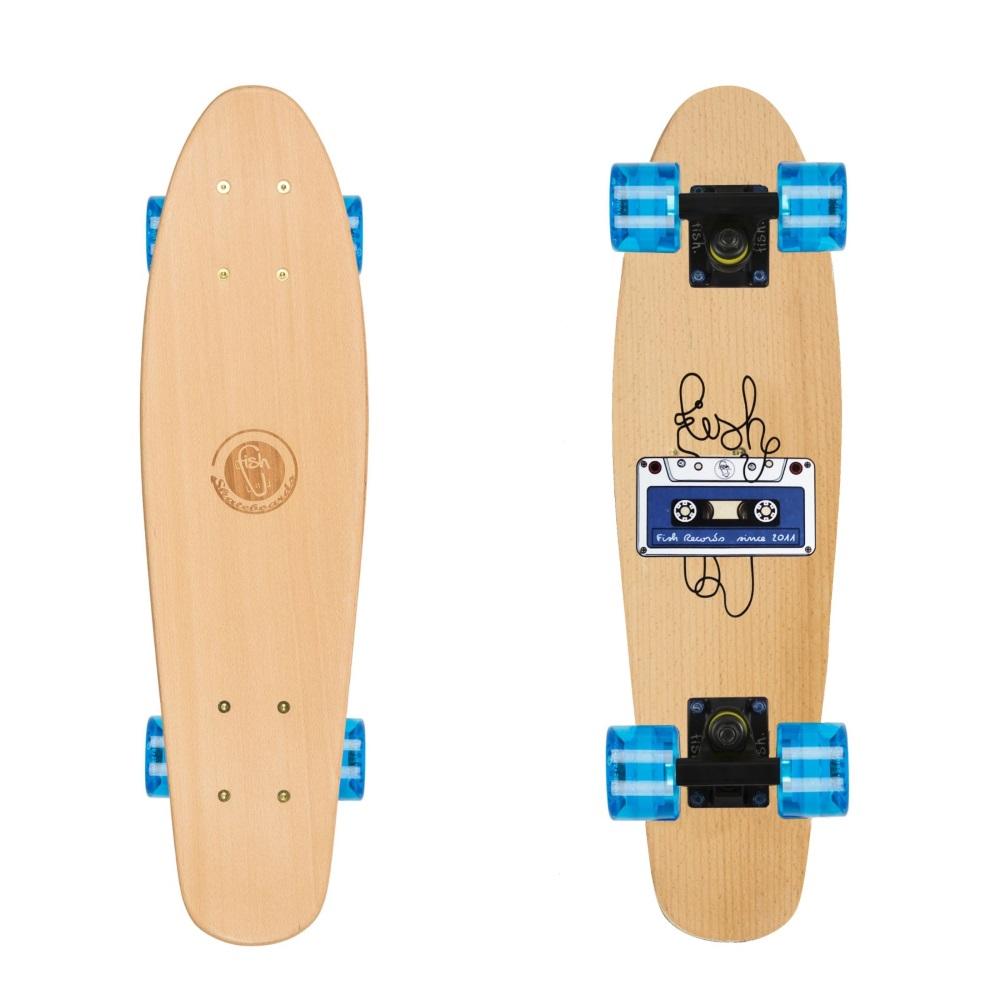 "Dřevený penny board Fish Classic Wood 22"" Tape-Black-Transparent Blue"