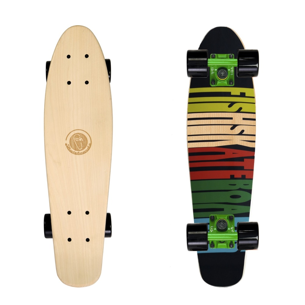 "Dřevený penny board Fish Classic Wood 22"" 70s-Green-Black"