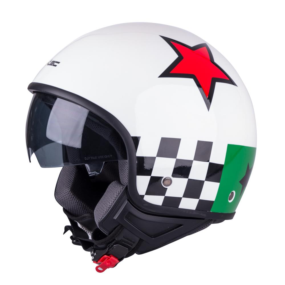 Helma na skútr W-TEC FS-710G Sixty White bílá s grafikou - XS (53-54)