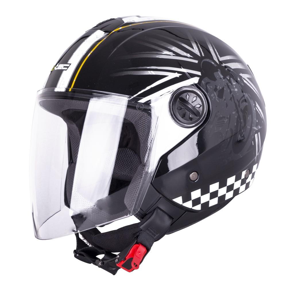 Otevřená helma W-TEC FS-715B Union Black černá s grafikou - L (59-60)