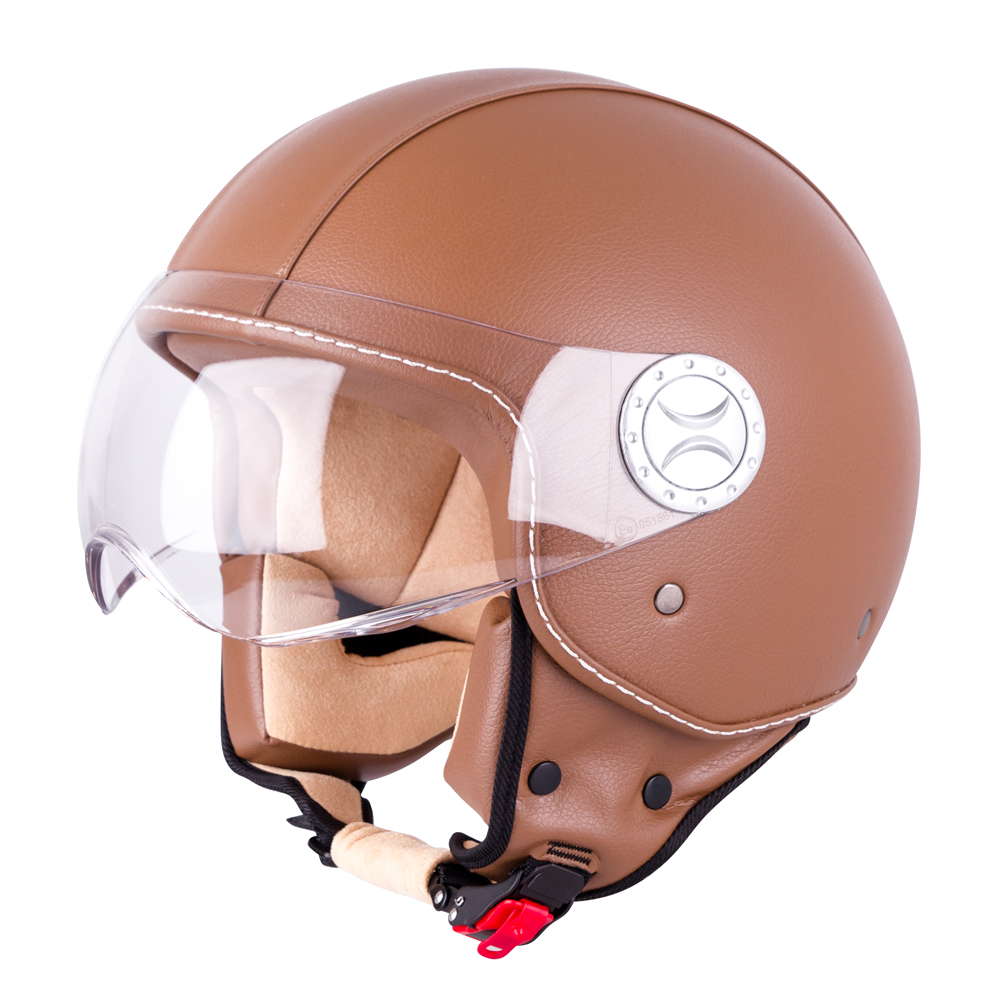 Helma na skútr W-TEC FS-701B Leather Brown hnědá - XS (53-54)