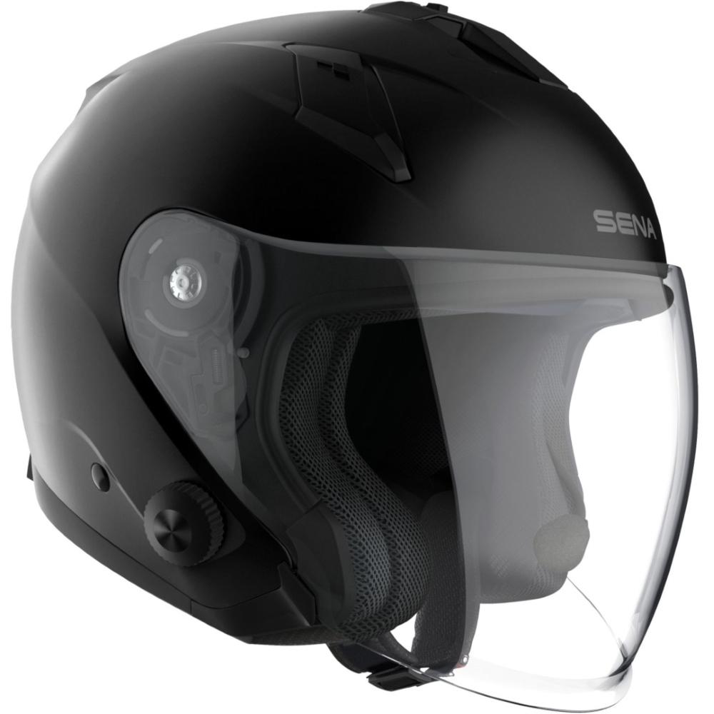 Moto přilba SENA Econo s integrovaným headsetem matně černá - M (57-58)