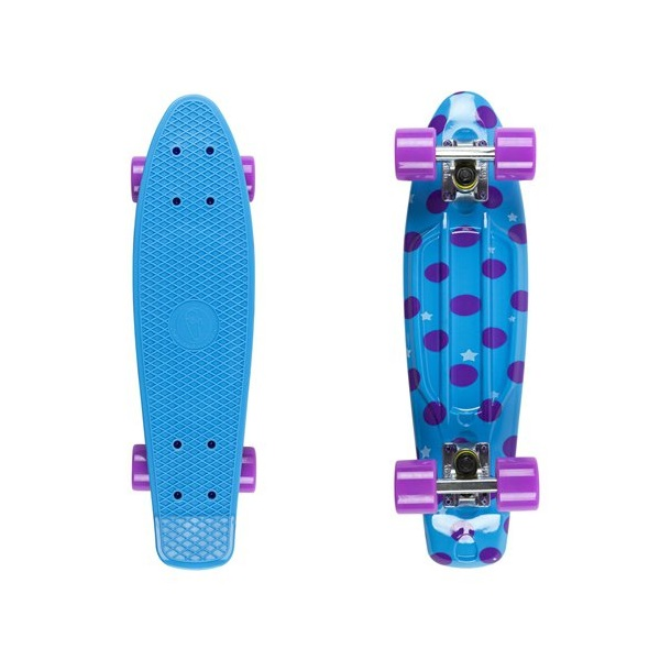 "Penny board Fish Print DOTS 22"" silver-purple"