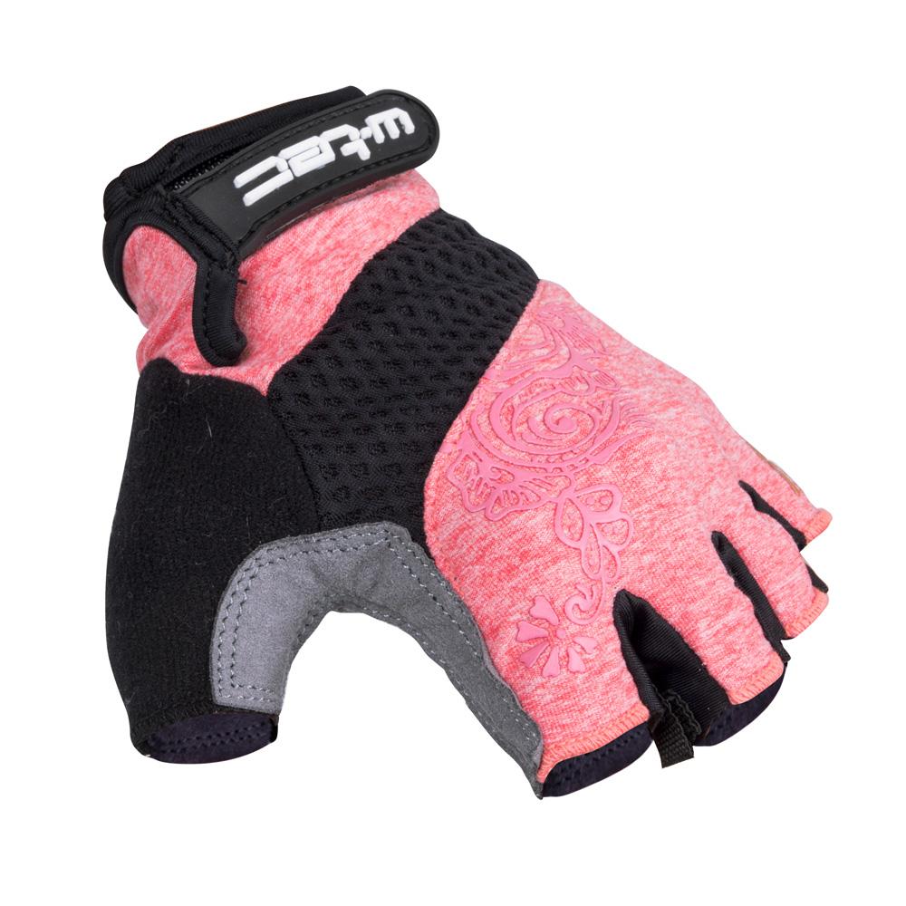 Dámské cyklo rukavice W-TEC Atamac AMC-1038-17 šedo-růžová - XS