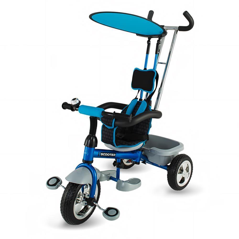 Dětská tříkolka s vodící tyčí DHS Scooter Plus modrá