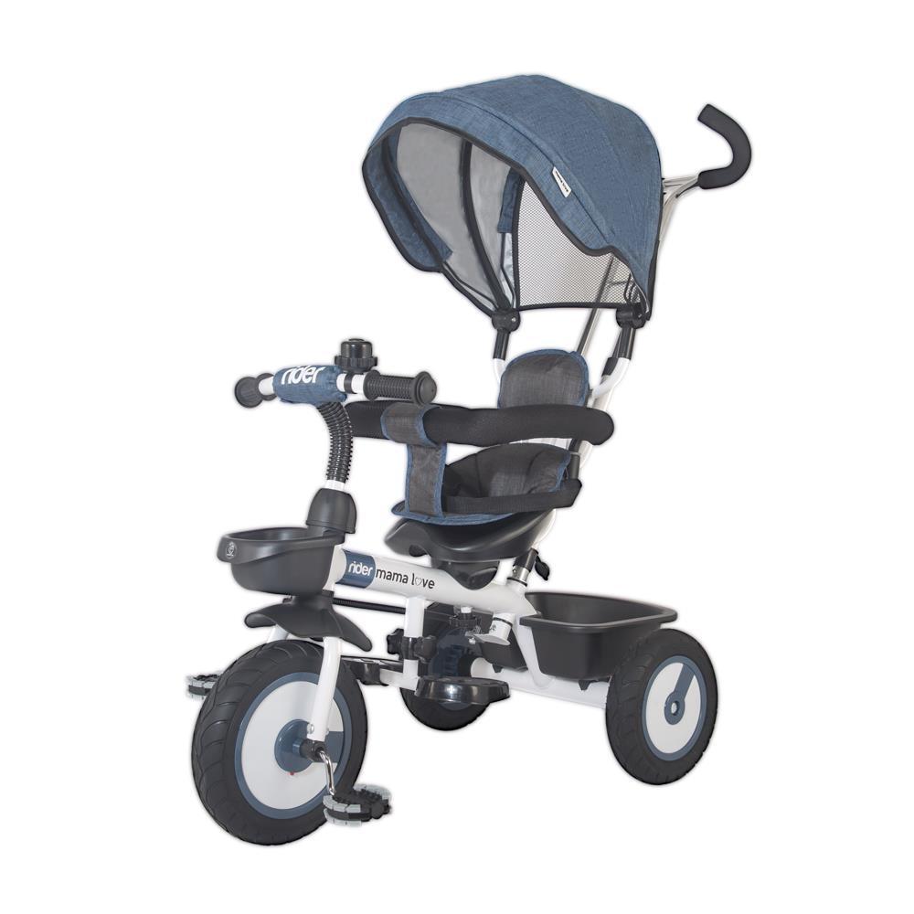 Dětská tříkolka s vodící tyčí MamaLove Rider modrá