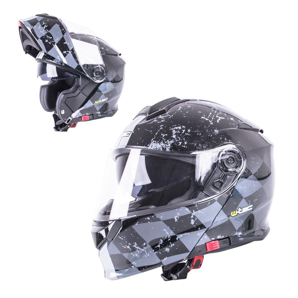 Výklopná moto přilba W-TEC V271 černo-šedá - M (57-58)