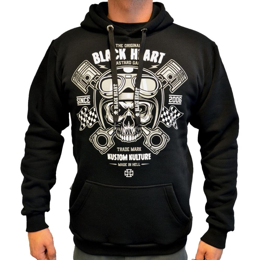 Mikina BLACK HEART Piston Skull Hood černá - M