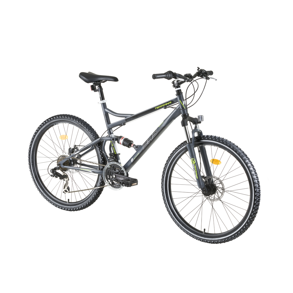 "Celoodpružené kolo DHS Terrana 2645 26"" - model 2016 Gray-Black-Green - 17,5"""