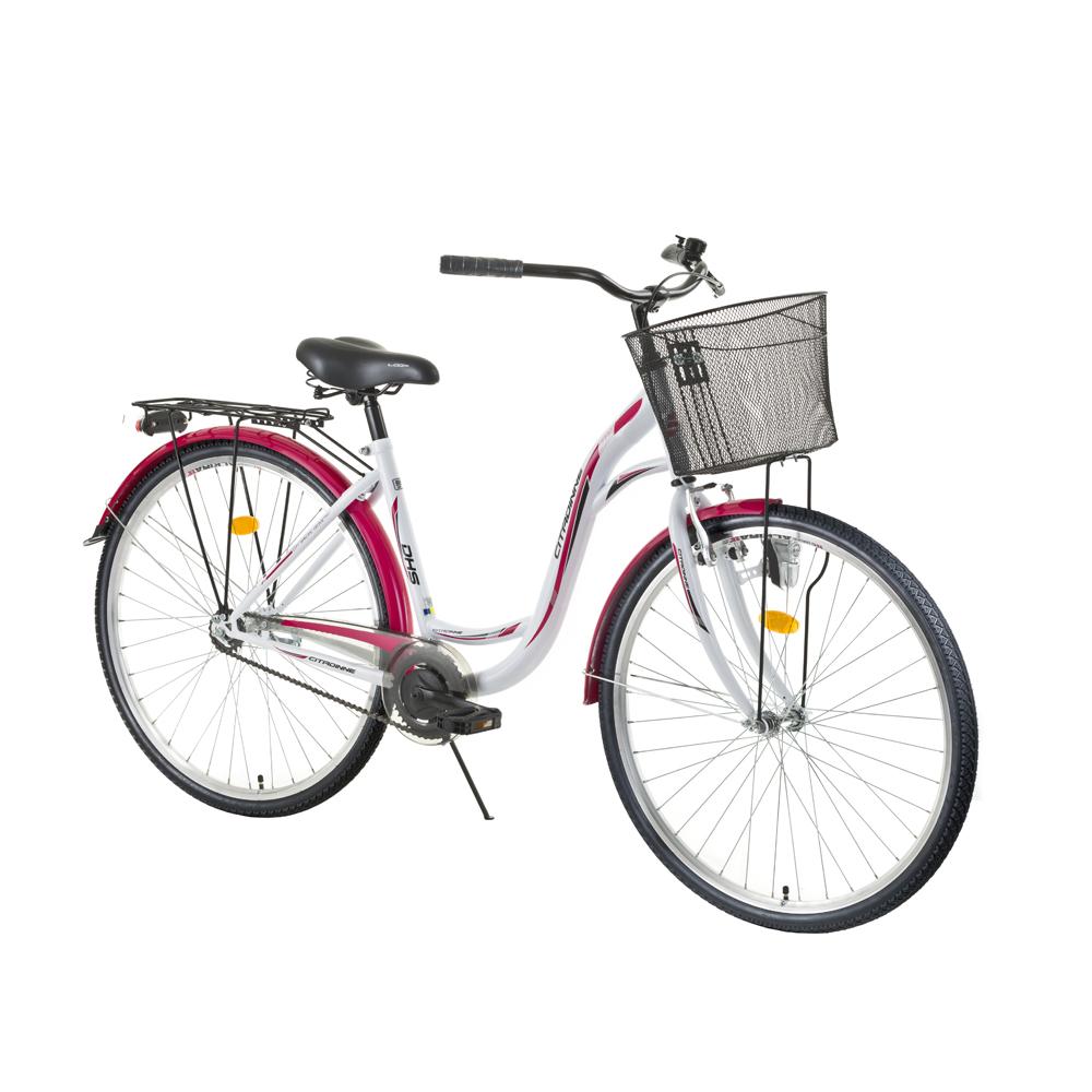 """Městské kolo DHS Citadinne 2632 26"""" - model 2016 White-Black-Pink - 19"""""""