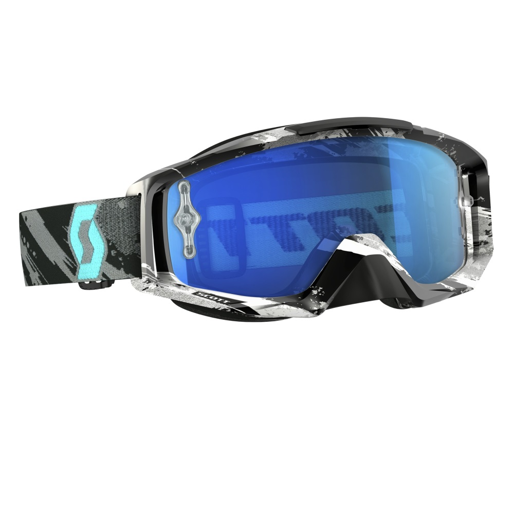 Moto brýle Scott Tyrant MXVI zebra grey-turquoise-electric blue chrome