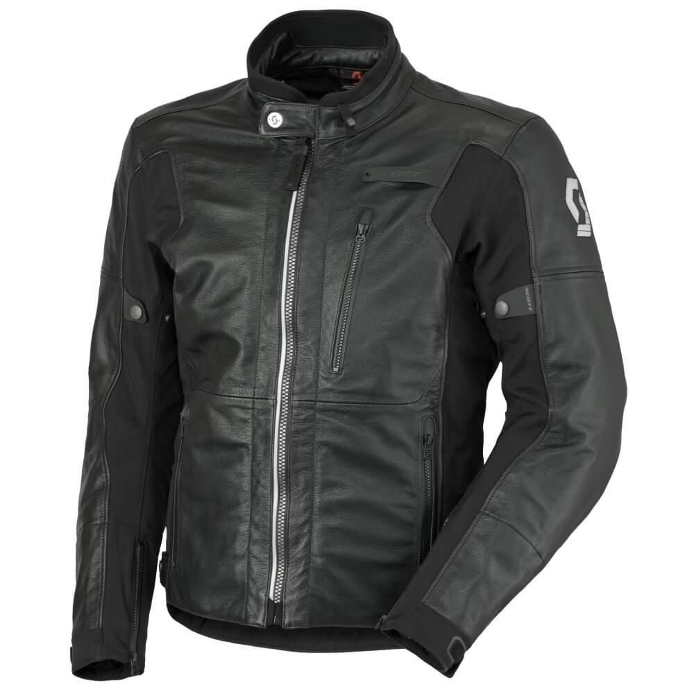 Kožená moto bunda Scott Tourance Leather DP černá - L (50-52)