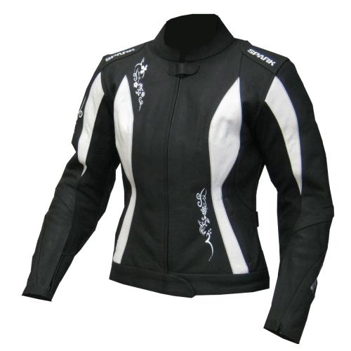 Dámská moto bunda Spark Jane černo-bílá - S