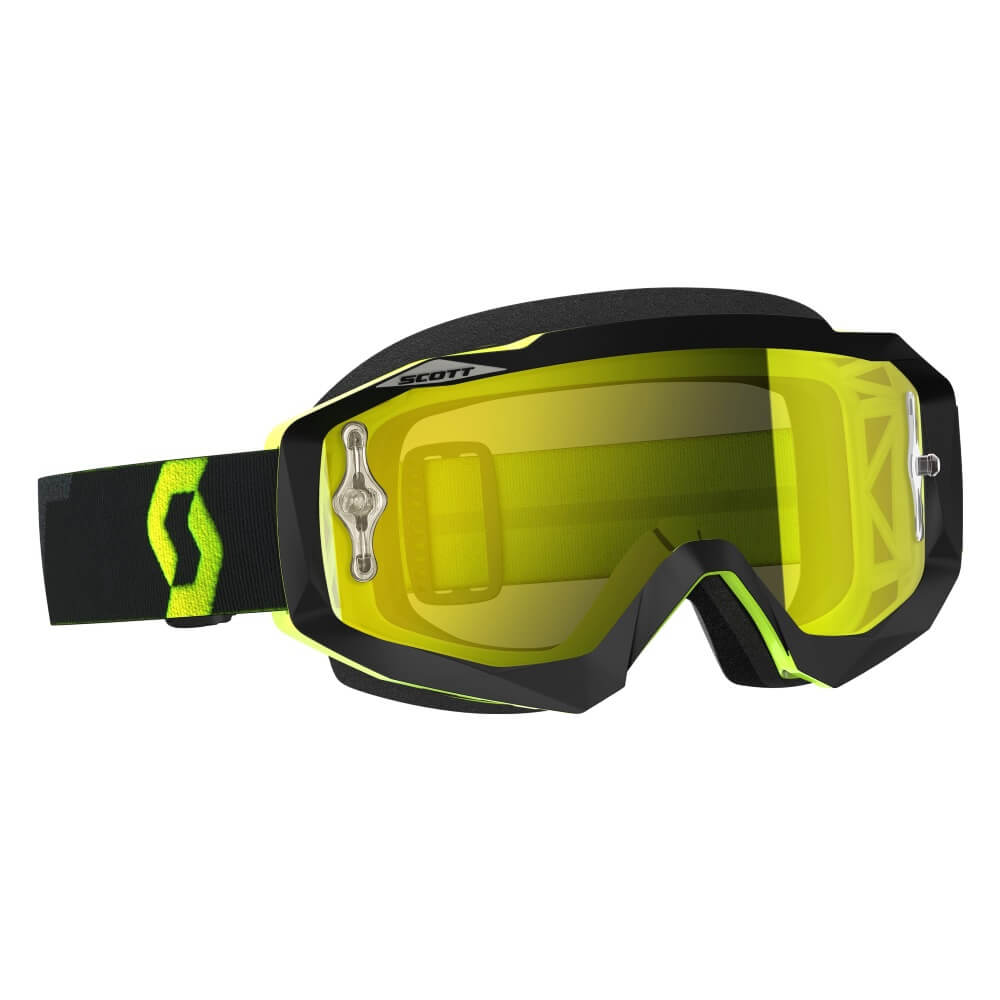 Moto brýle SCOTT Hustle MX CH MXVII black-fluo yellow-yellow chrome