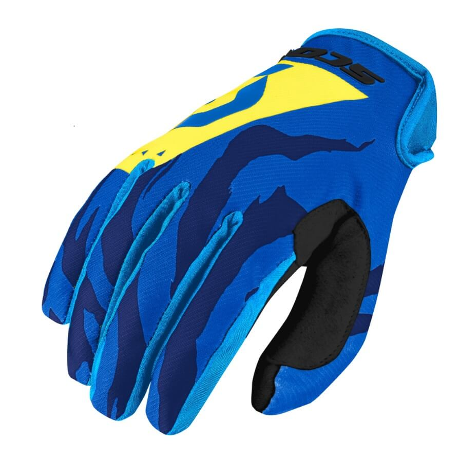 Moto a cyklo rukavice SCOTT 350 Race MXVII Blue-Yellow - M