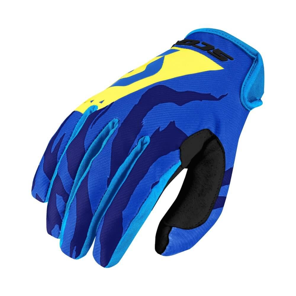 Dětské moto a cyklo rukavice SCOTT 350 Race Kids MXVII Blue-Yellow - S