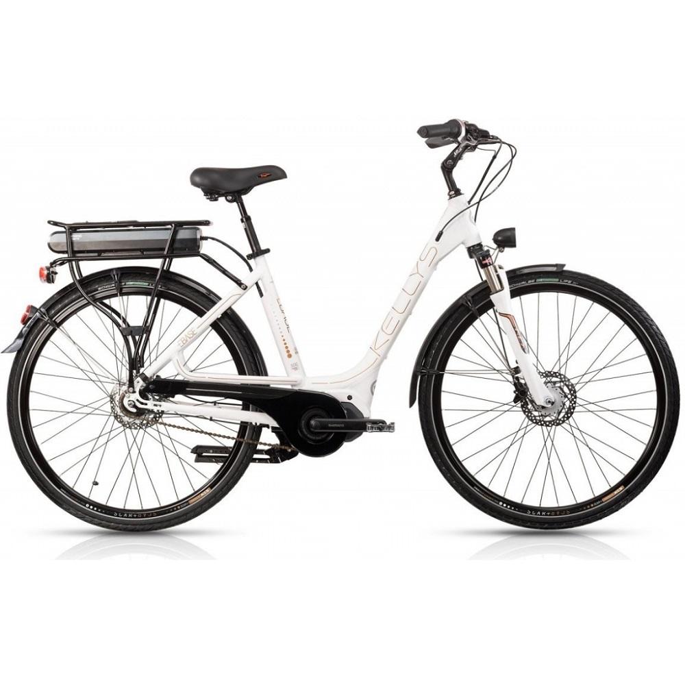 "Městské elektrokolo Kellys Ebase 28"" - model 2018 White - 450 mm (17,5"") - Záruka 10 let"
