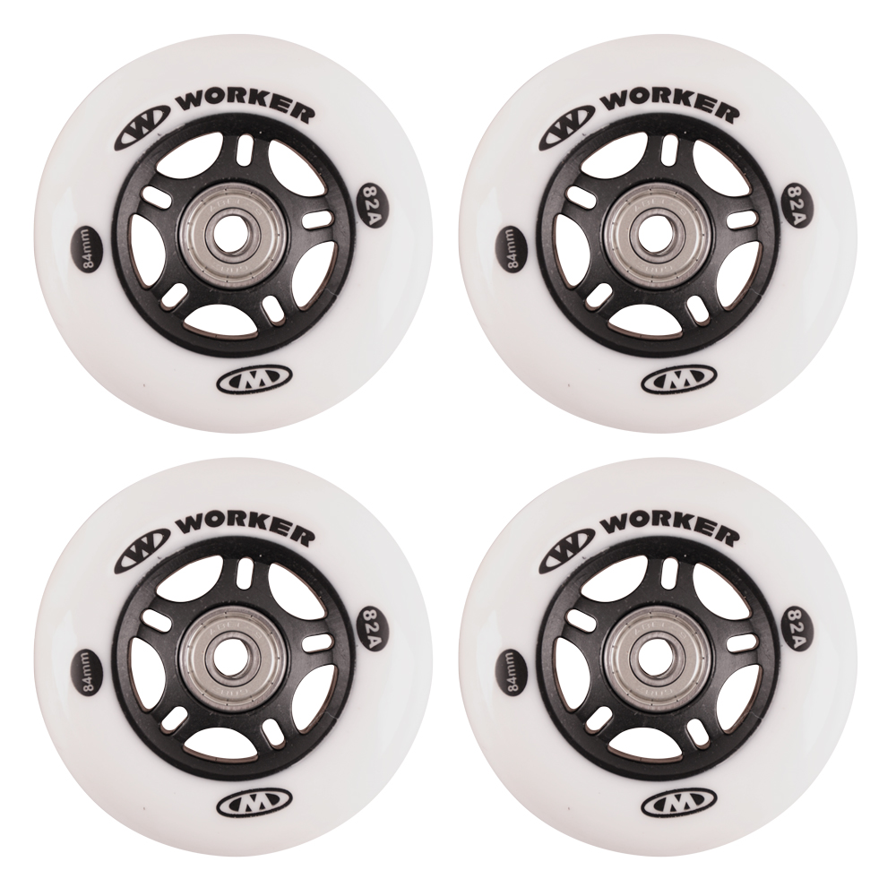 In-line kolečka WORKER 84mm a ložiska ABEC-9 chrome - Set 4 ks