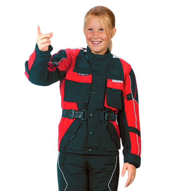 Dětská moto bunda Roleff TASLAN Kids červeno-černá - S