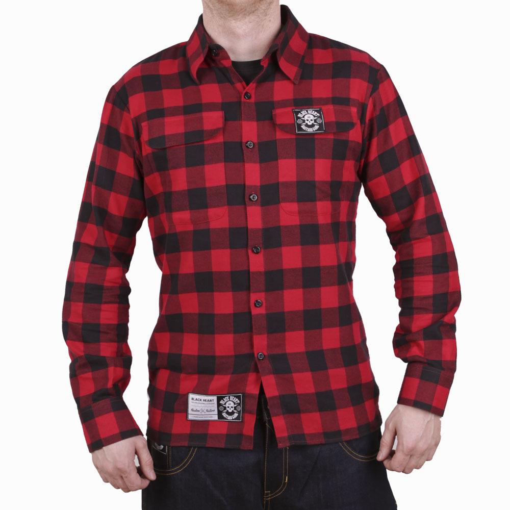 Košile dlouhý rukáv BLACK HEART Redneck červená - L