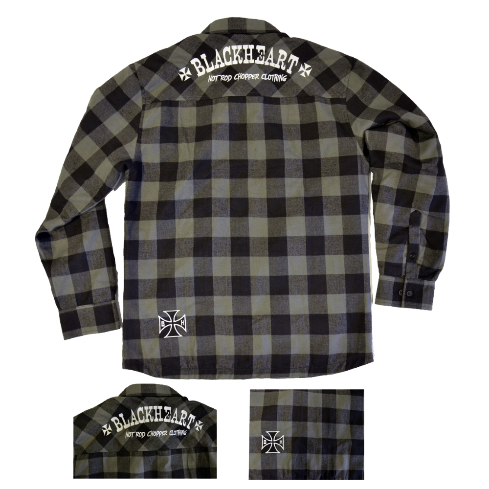 Košile dlouhý rukáv BLACK HEART Duke šedá - M