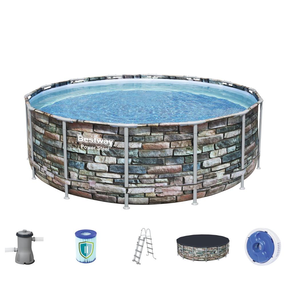 Bazén Bestway Power Steel Stone 427 x 122 cm s filtrací