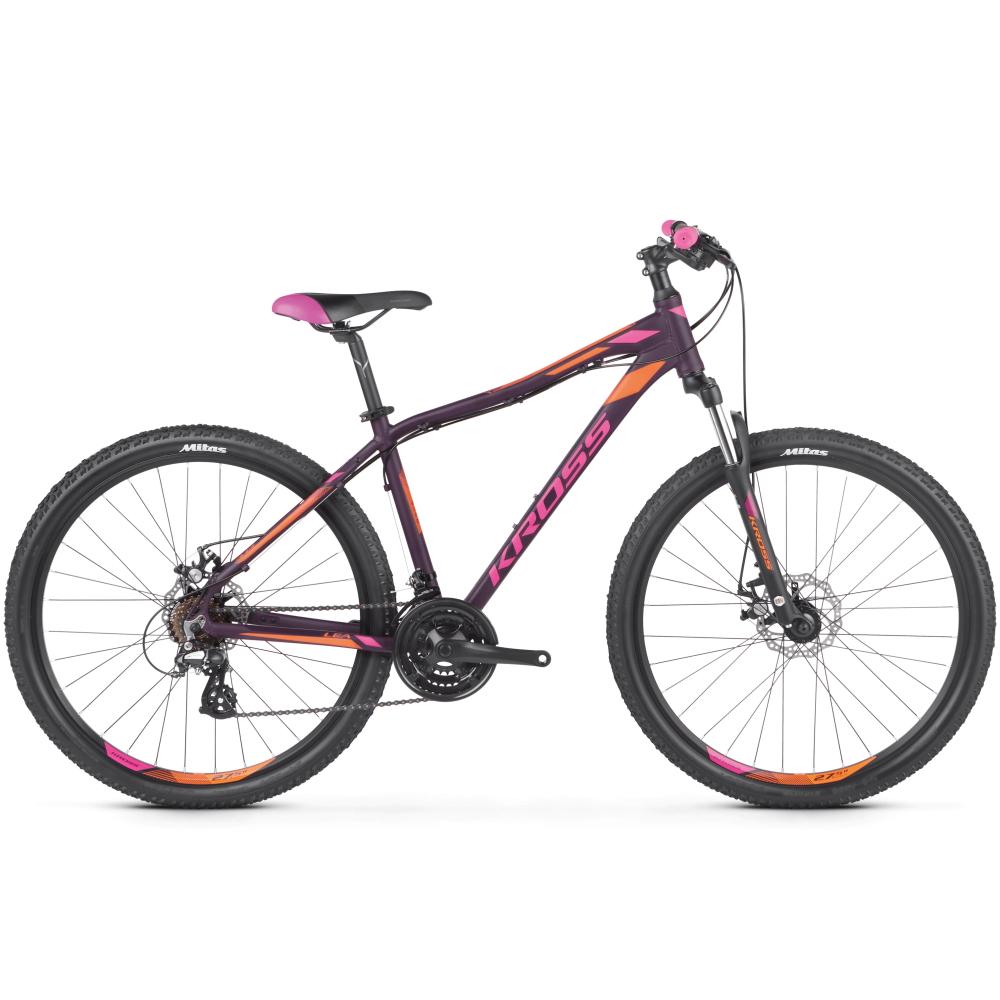 """Dámské horské kolo Kross Lea 3.0 27,5"""" SR - model 2021 fialová/růžová/oranžová - M (19'') - Záruka 10 let"""