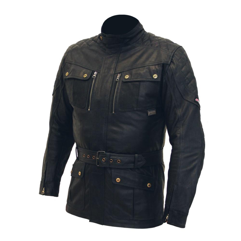 Pánská kožená moto bunda SPARK Romp černá - 5XL