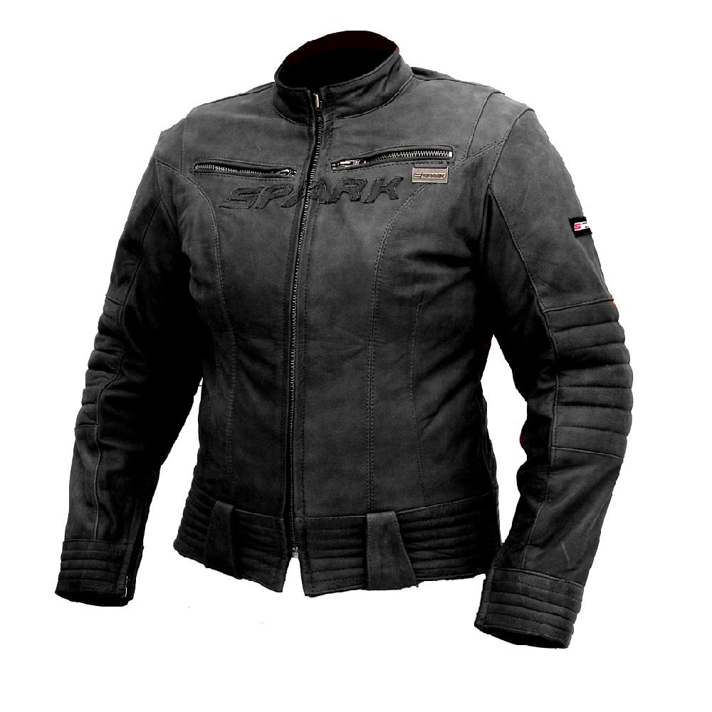 Dámská kožená moto bunda SPARK Betty černá - S