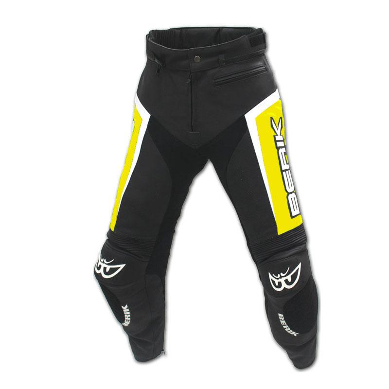 Kožené moto kalhoty Berik LP-10556-BK Fluo Yellow černo-žlutá - M