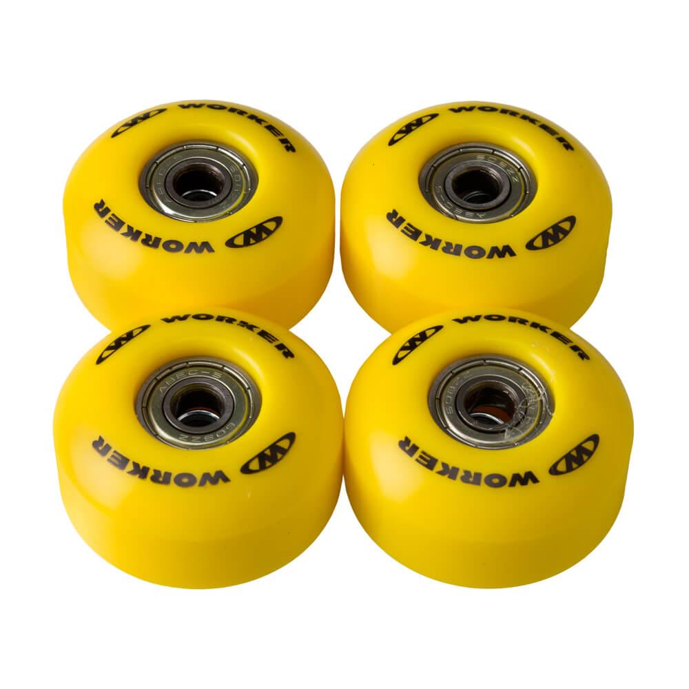 Kolečka na skateboard WORKER 50*30mm vč. ložisek ABEC 5 žlutá
