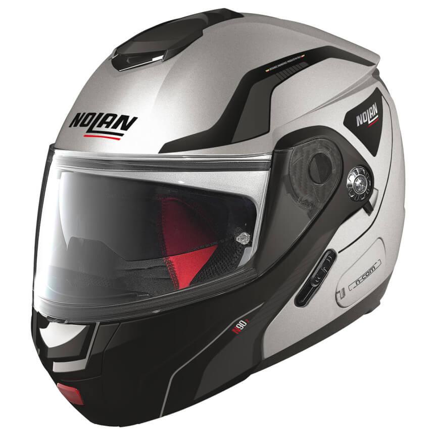 Moto helma Nolan N90-2 Straton N-Com Flat Silver
