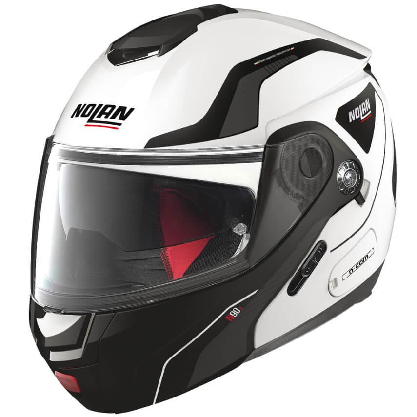Moto helma Nolan N90-2 Straton N-Com Metal White