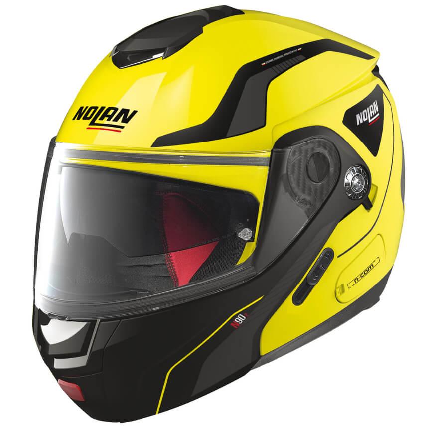 Moto helma Nolan N90-2 Straton N-Com LED Yellow žluto-černá - S (55-56)