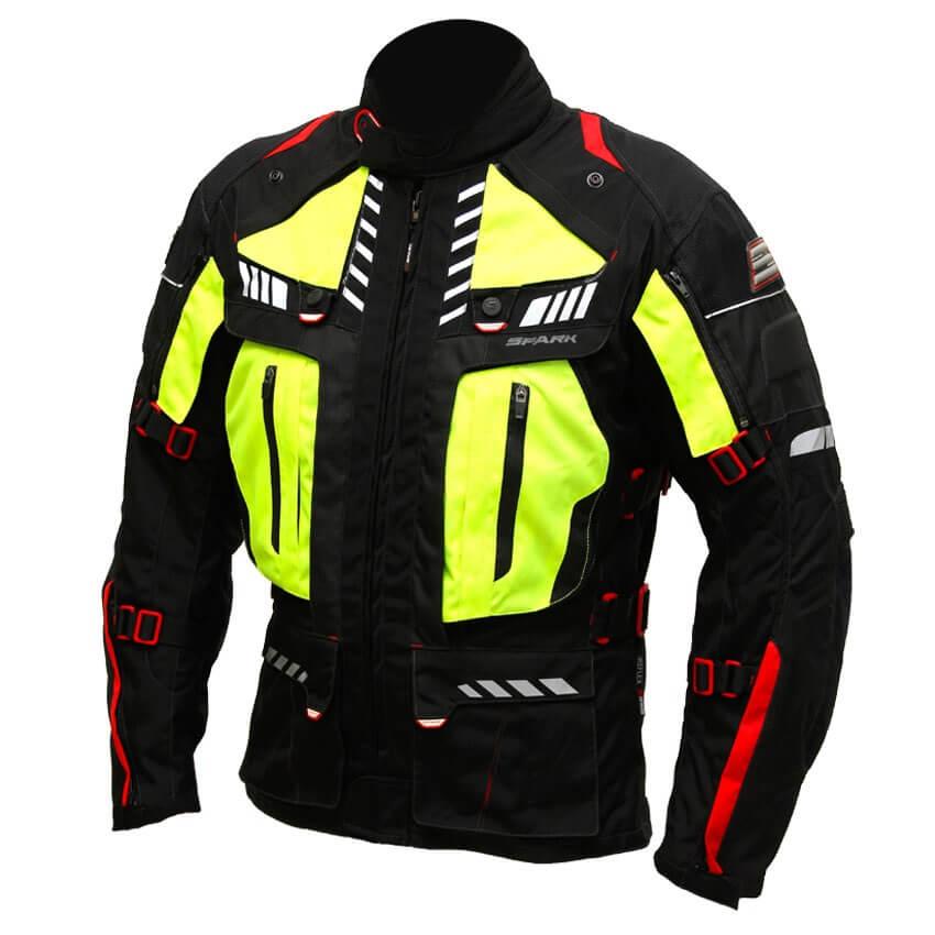 Pánská textilní moto bunda Spark Expedition černá-fluo žlutá - 5XL