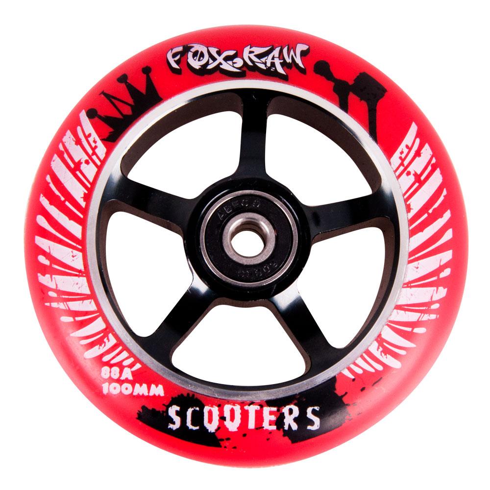 Náhradní kolečko pro koloběžku FOX PRO Raw 100 mm červeno-černá