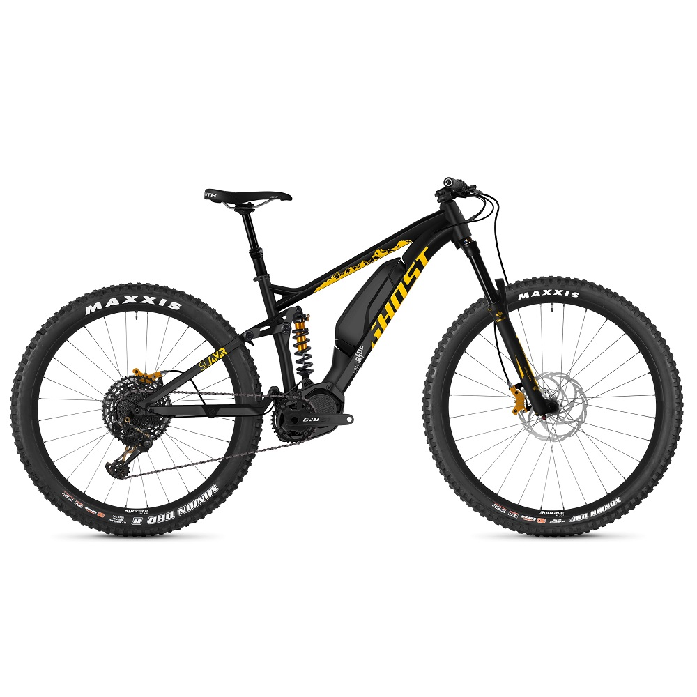 "Celoodpružené elektrokolo Ghost Hybride SL AMR S3.7+ AL 29"" - model 2019 Night Black / Spectra Yellow / Iridium Silver - XL (19,5"") - Záruka 10 let"