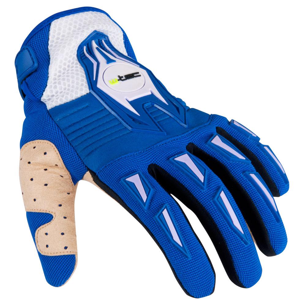 Motokrosové rukavice W-TEC Kozun modro-béžová - XXS
